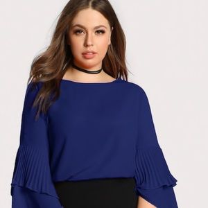NWOT SHEIN Pleated Ruffle Sleeve Top